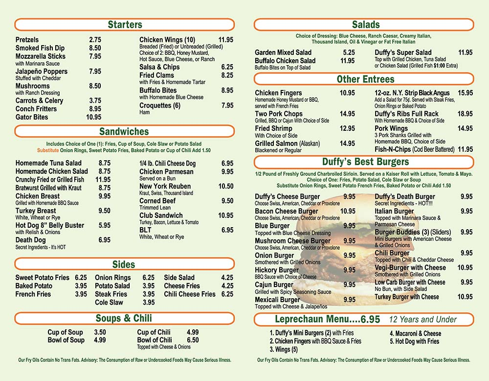 Menu Page 2 from Duffy's Tavern