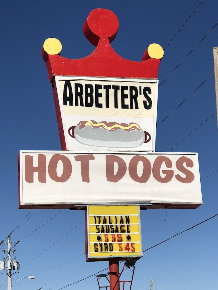 Arbetter's Hot Dogs sign in Cocoa Beach, Florida