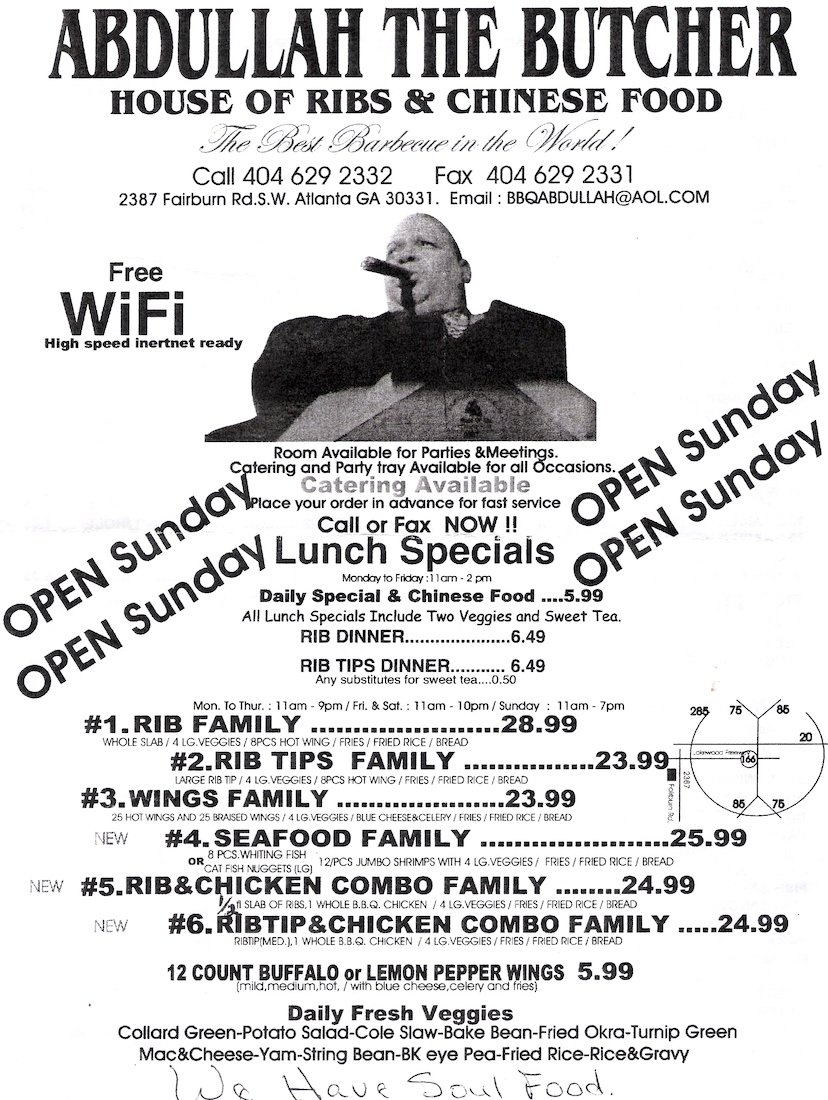Abdullah the Butcher House of Ribs & Chinese Food Menu Front