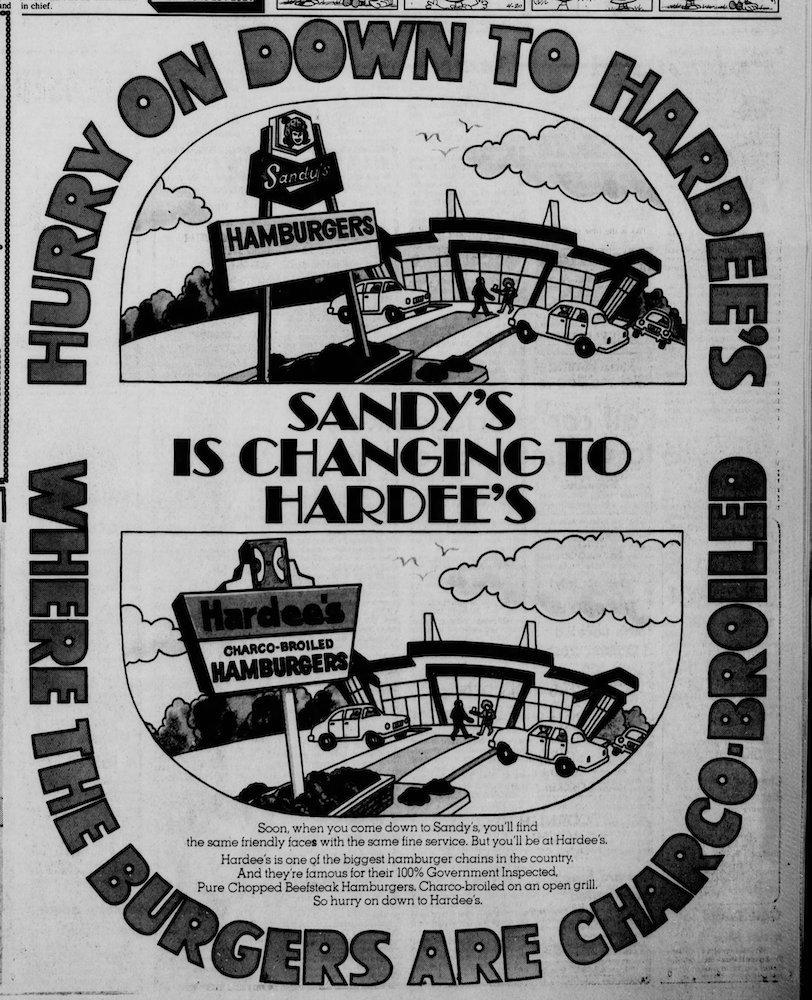 Sandy's & Hardee's in the Dixon Evening Telegraph April 20, 1973