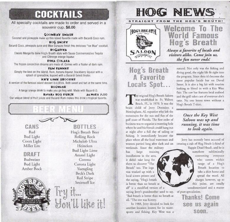 Hogs Breath Menu Page 4