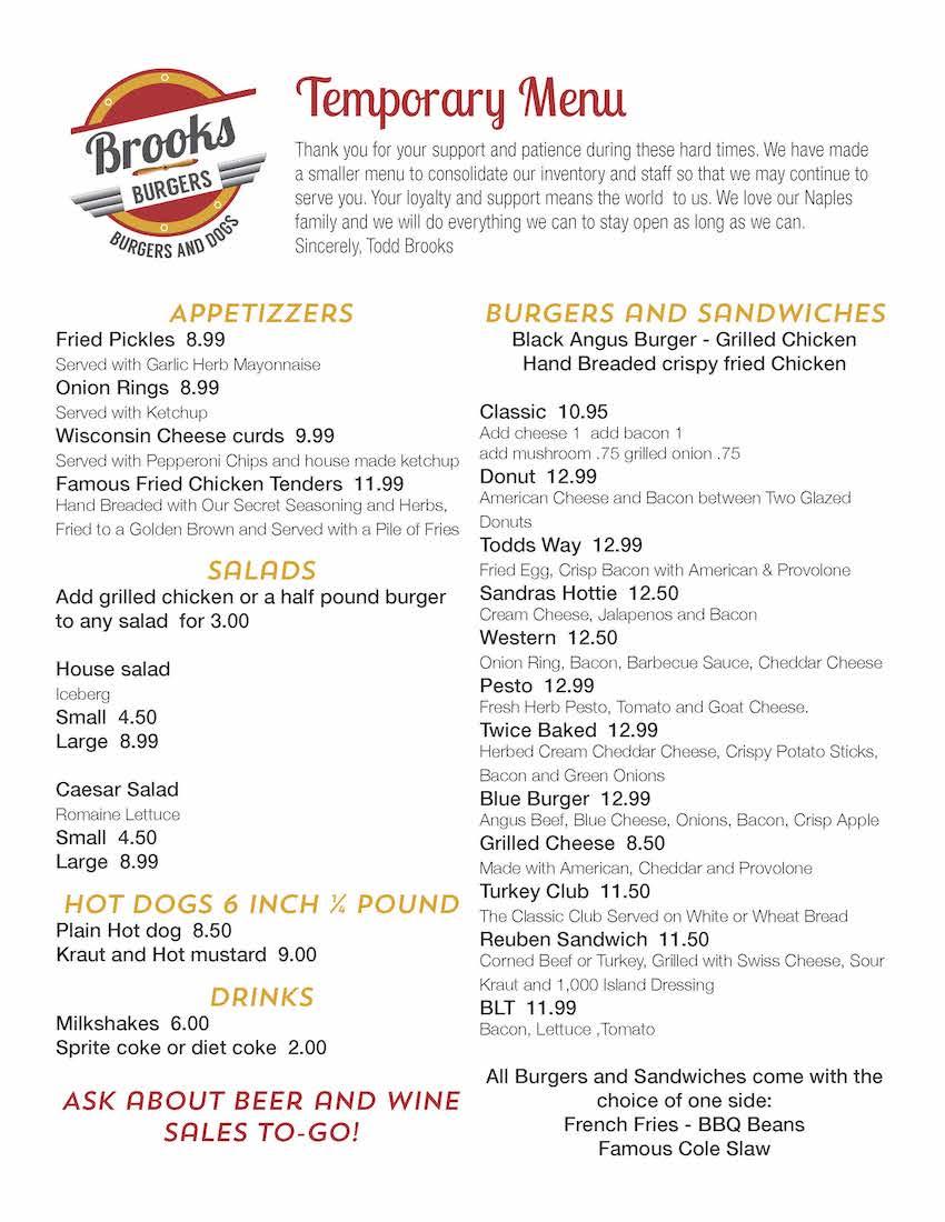 Brooks Burgers Menu