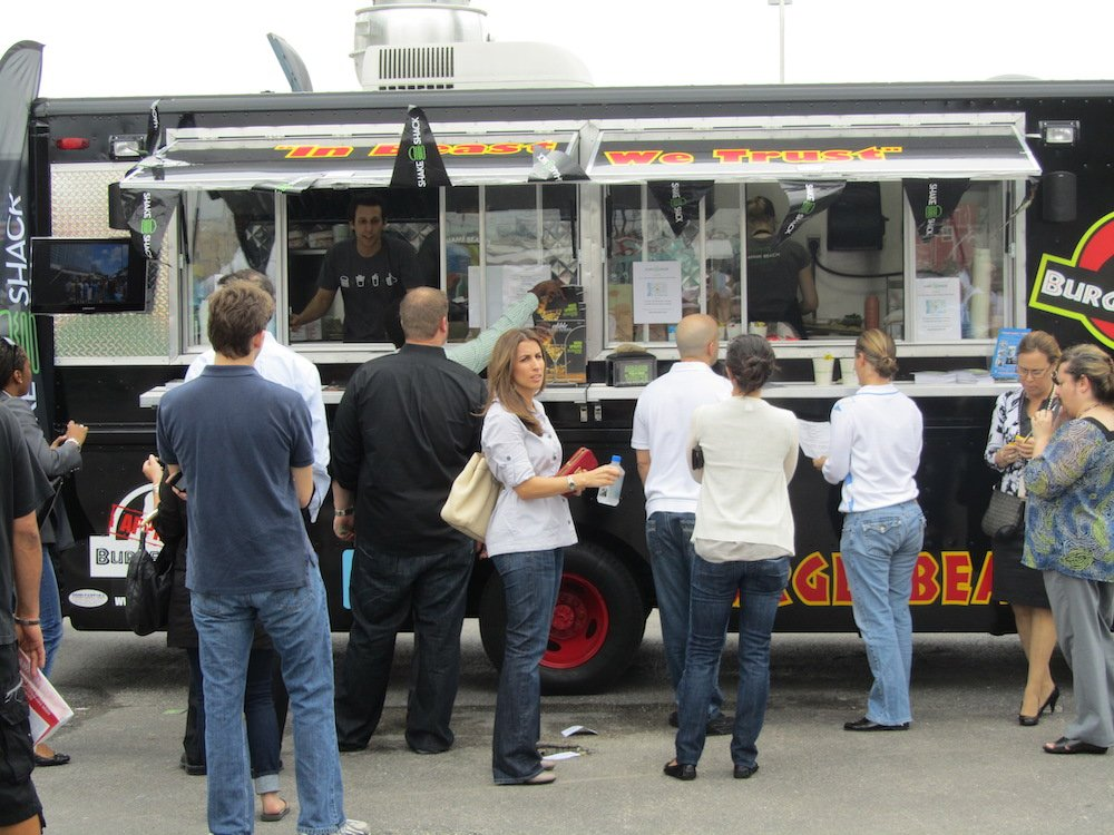 People in line at the Burger Beastmobile