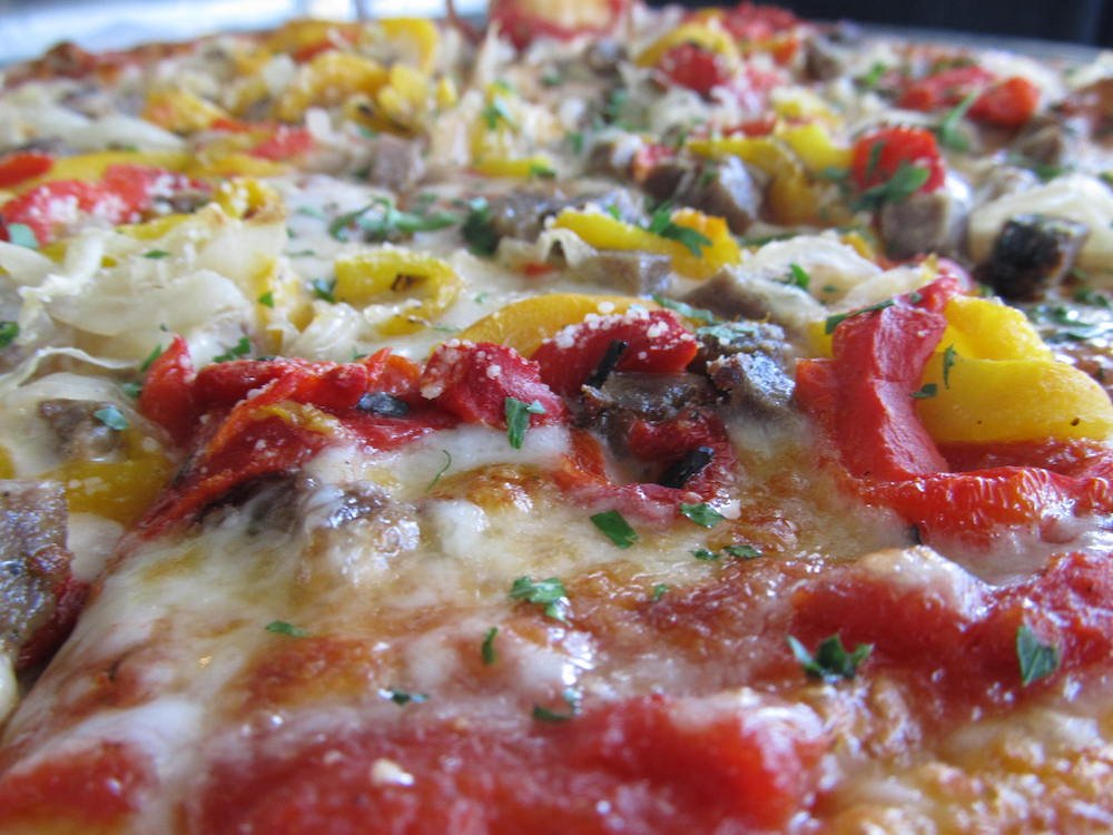 Pizza with plenty of peppers
