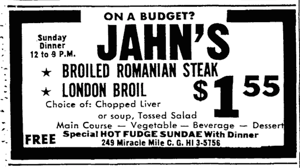 Jahn's ad from the Miami Herald 12-18-66