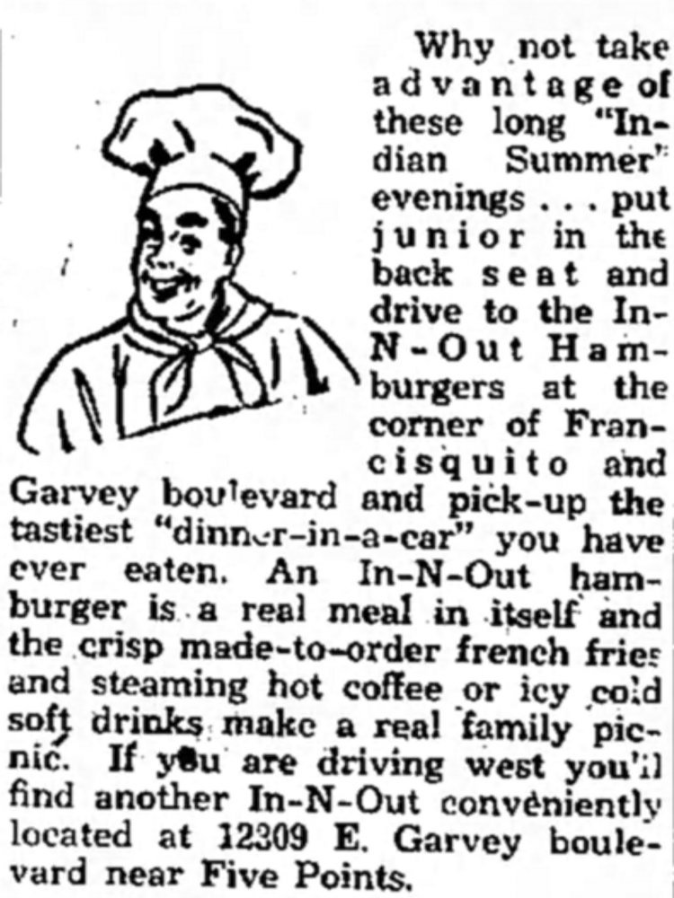 In-N-Out in the Covina Argus September 28th, 1951
