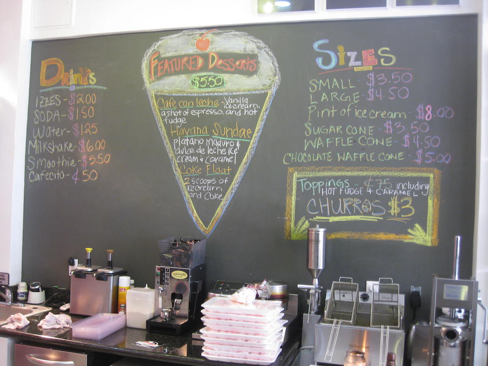 Azucar Ice Cream Menu Board