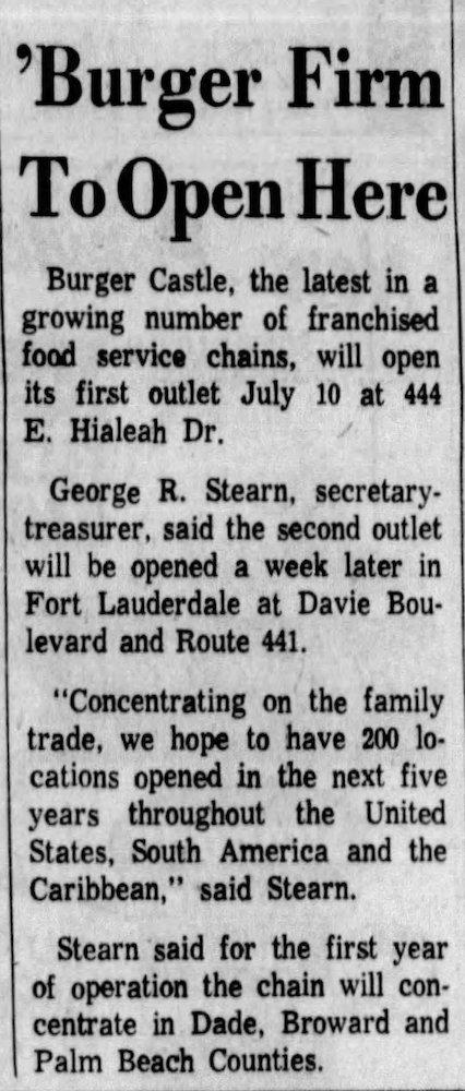 Burger Castle in The Miami News 06-29-64