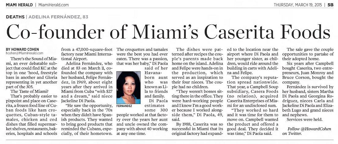 Caserita Co-Founder Passes Away in The Miami Herald 3-19-15