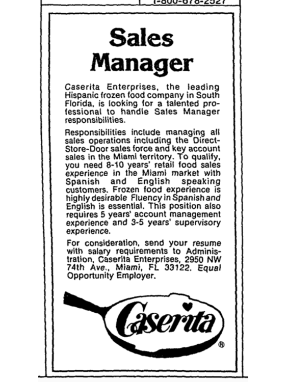 Caserita Sales Manager Ad from the Miami Herald 12-26-88