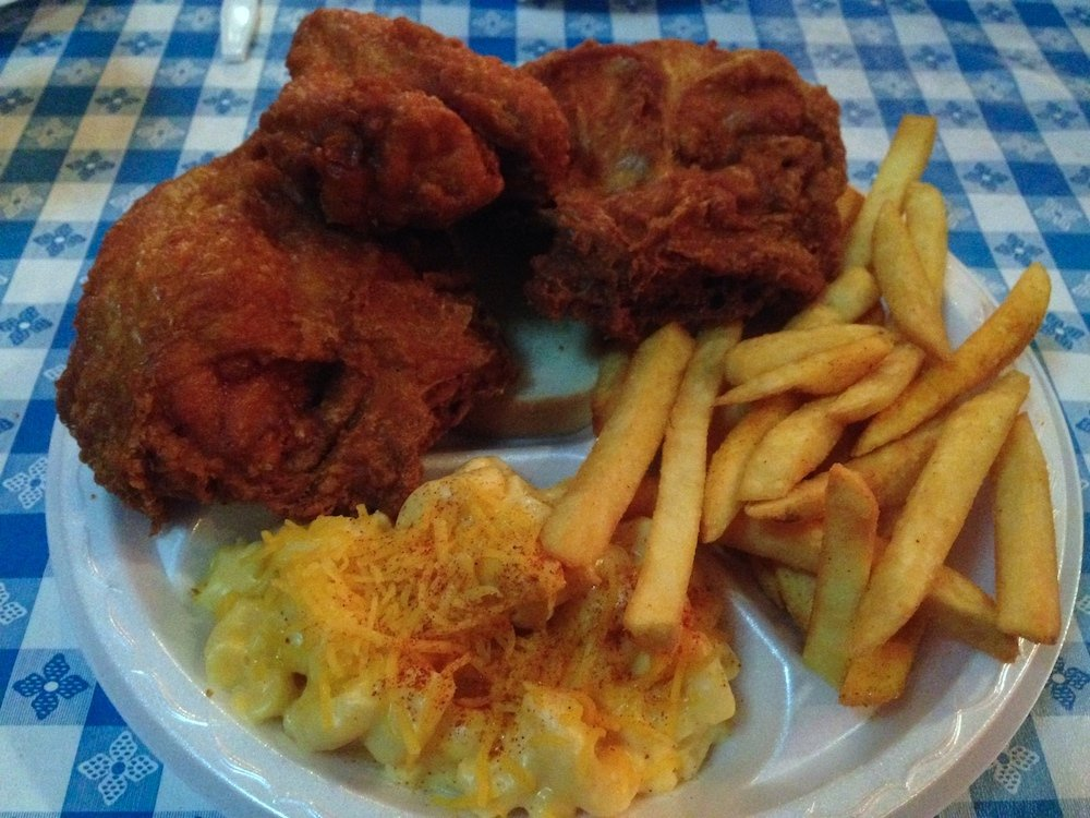 Fried Chicken Platter with Fries and Mac & Cheese