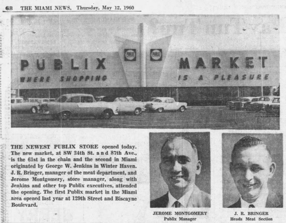 Publix in The Miami News May 12, 1960