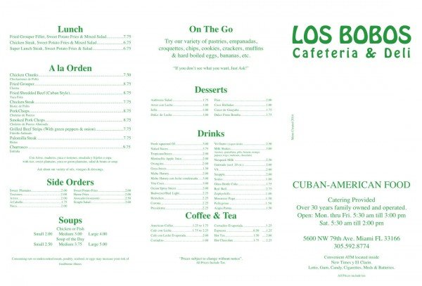 Menu Page 1 (click to enlarge)