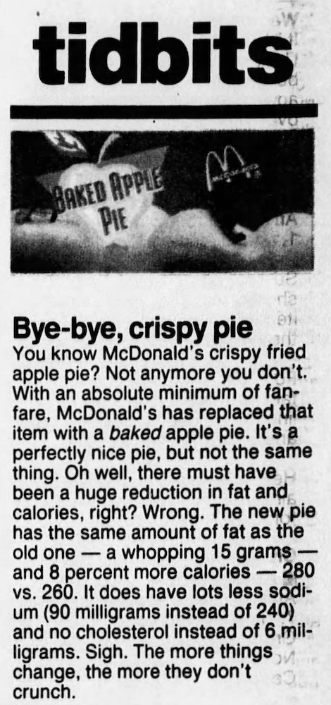 McDonald's Apple Pie switch to Baked