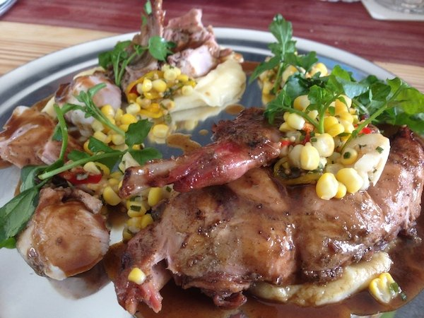 Hasenpfeffer -  Half Rotisserie Rabbit w/Potato Purée, Pickled Garlic & Toasted Corn Relish and Herb Jus.