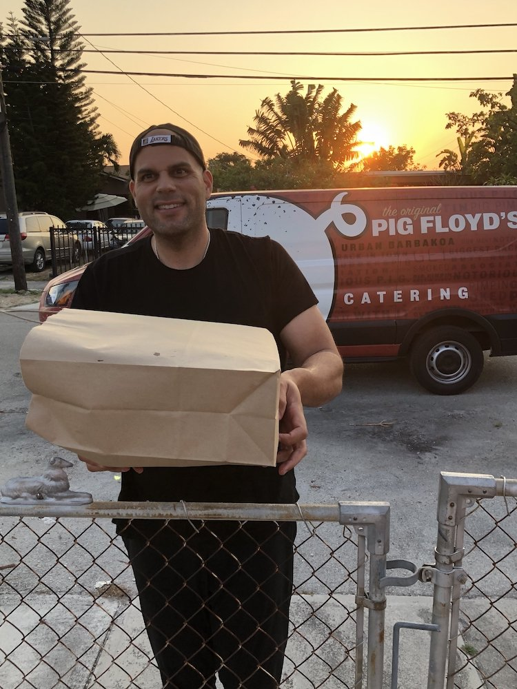 Hand delivered by Pig Floyd's owner Thomas Ward