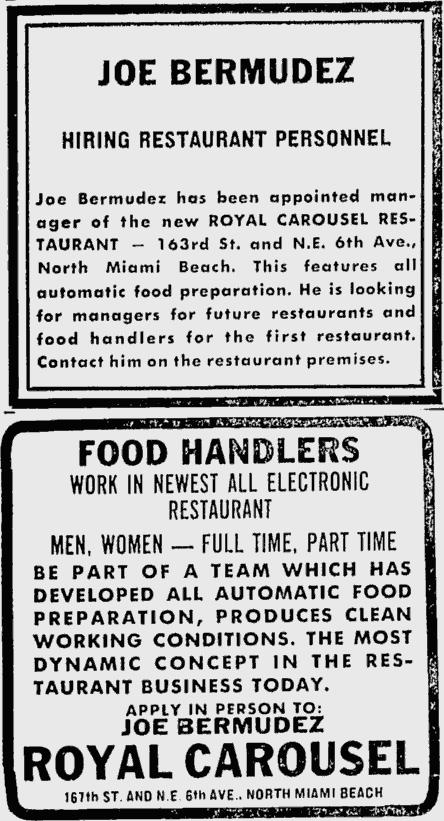 Royal Carousel Job Ad - The Miami News July 18th, 1967