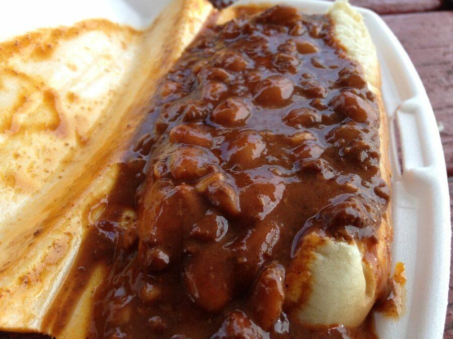 Closeup of a Chili Dog