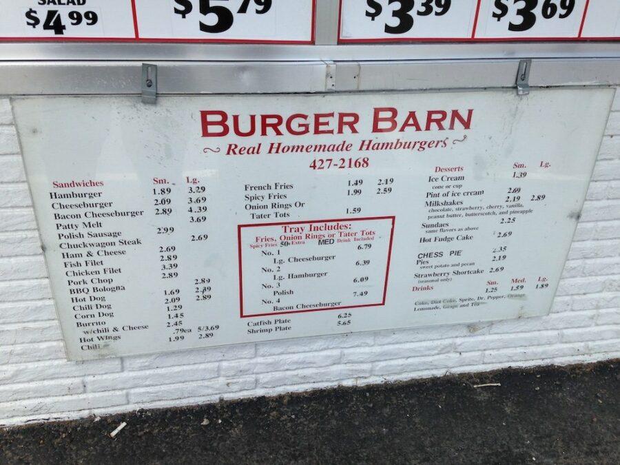 Burger Barn Menu Board