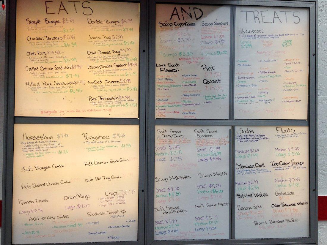 Eats and Treats Menu Board