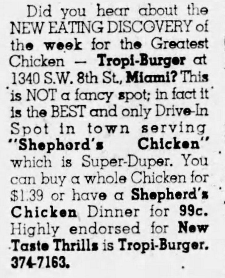 TropiBurger Ad in the Miami Herald 8-8-65