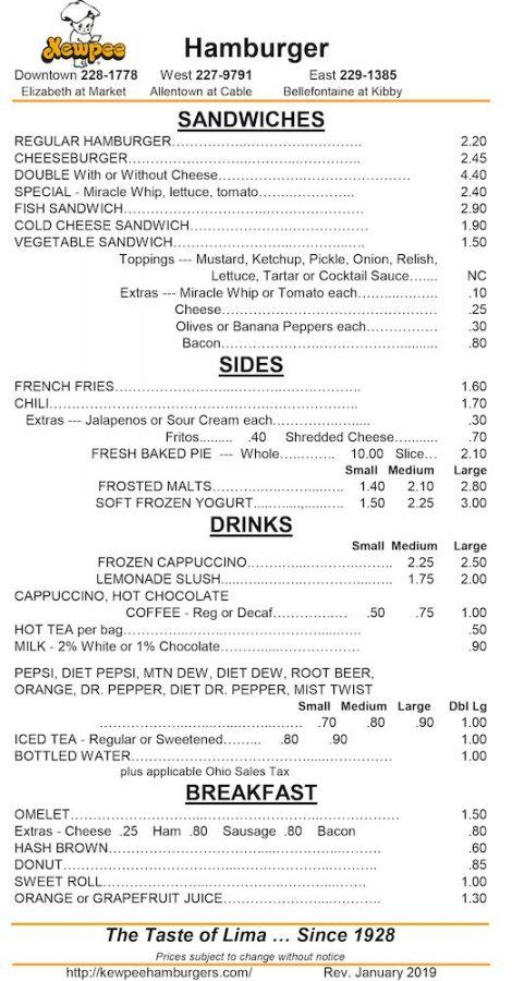 Kewpee Hamburgers Lima Menu