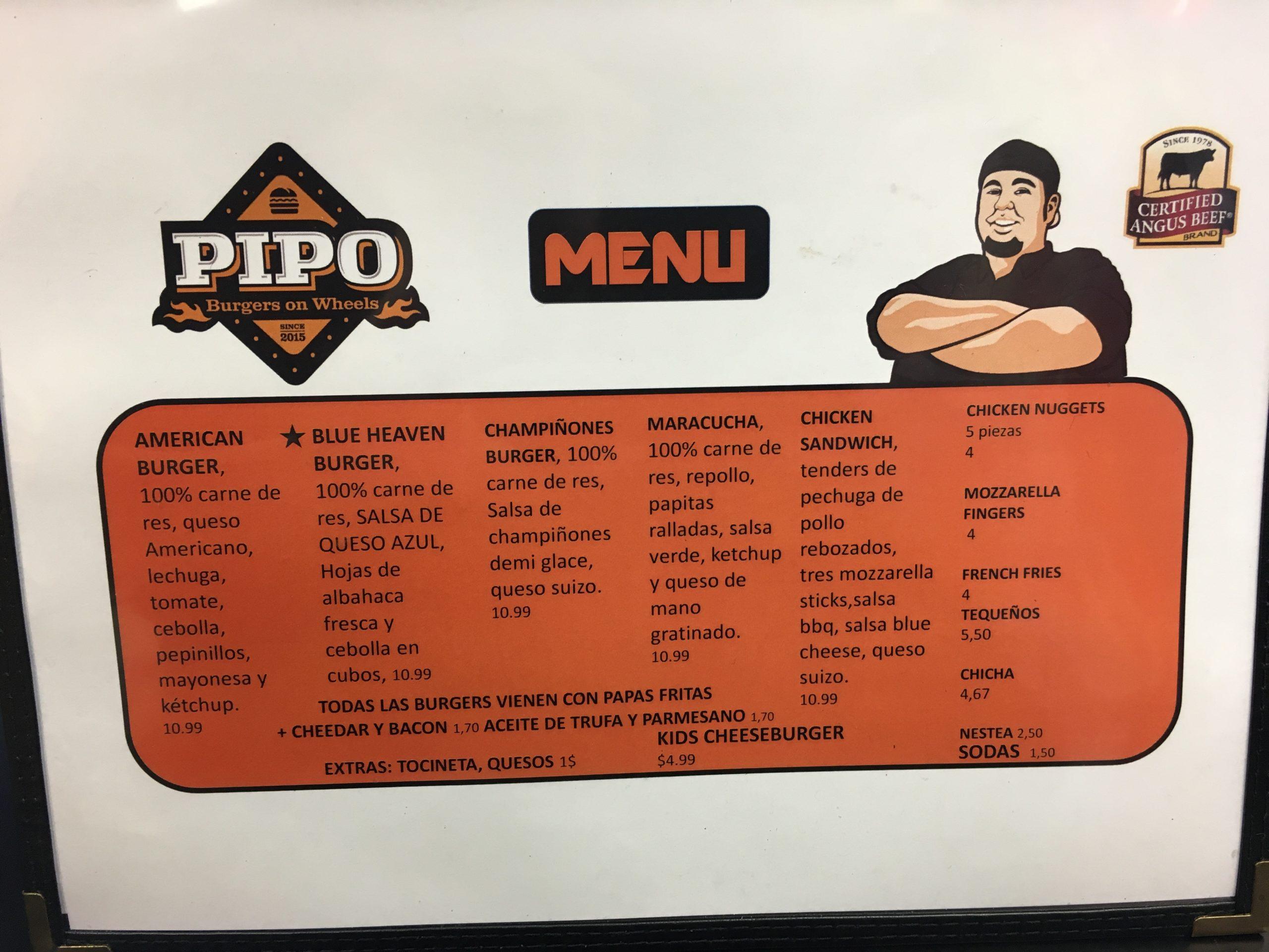 Pipo Burger Menu Page 1