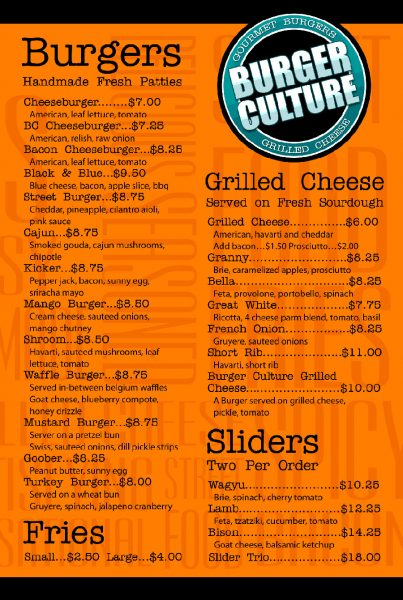 Burger Culture Menu (click to enlarge)