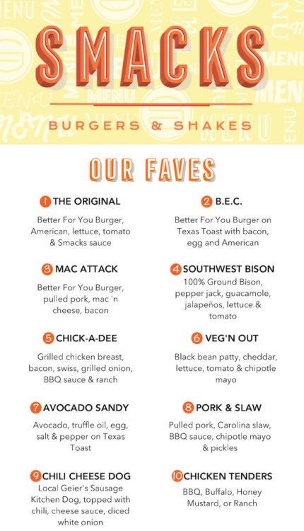 Smacks Burgers & Shakes Menu Page 1