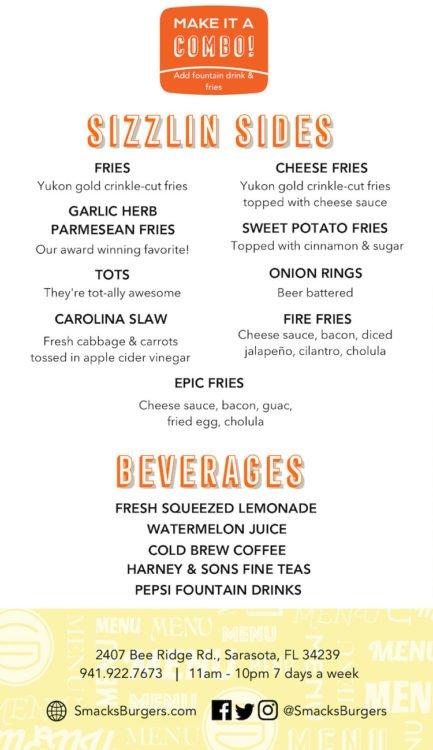 Smacks Burgers & Shakes Menu Page 2