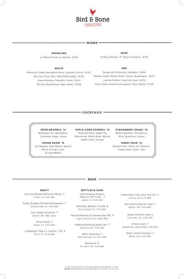 Bird & Bone Menu Page 2