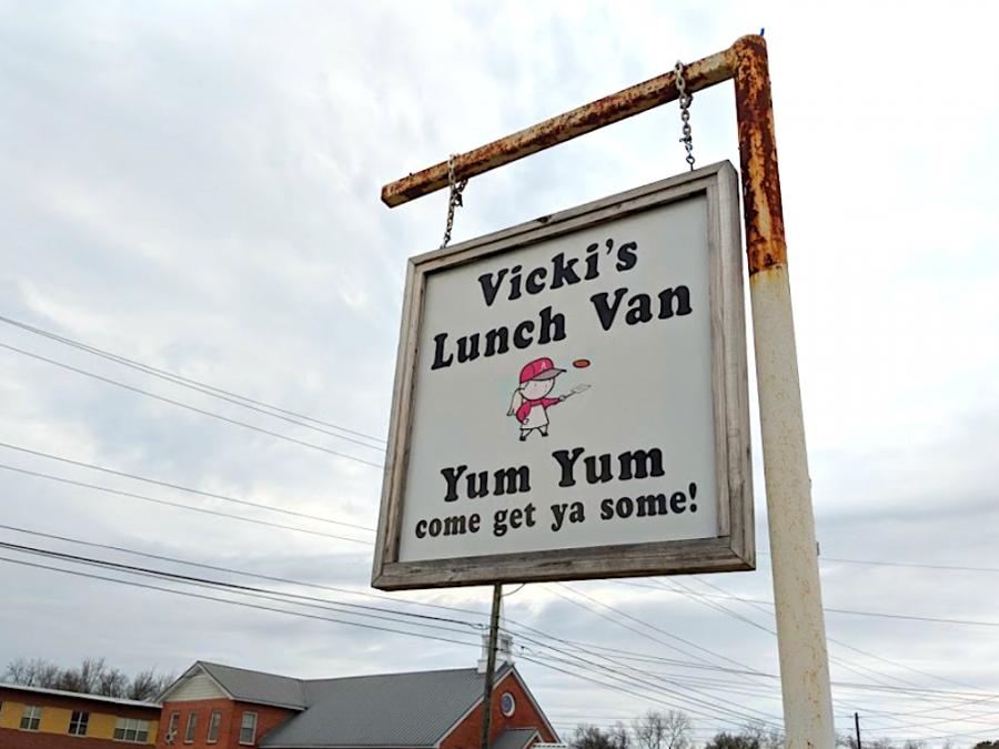 Vicki's Lunch Van Hanging Sign