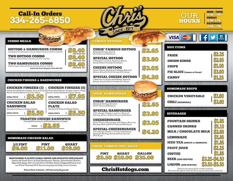 2019 Menu for Chris' Hot Dogs
