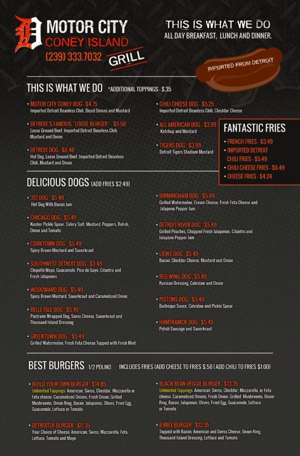 Motor city coney island grill menu burger beast for Motor city casino hours