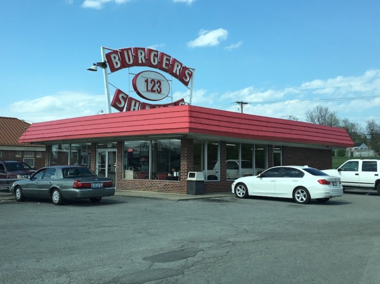 Burger Shake Restaurant Building in Lexington, Kentucky with cars parked