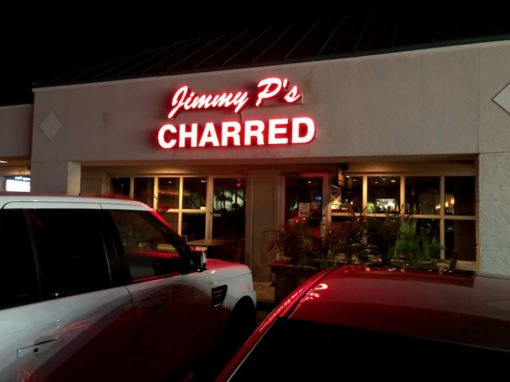 Jimmy P's Charred Sign