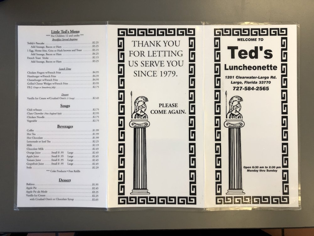 Ted's Luncheonette Menu Front