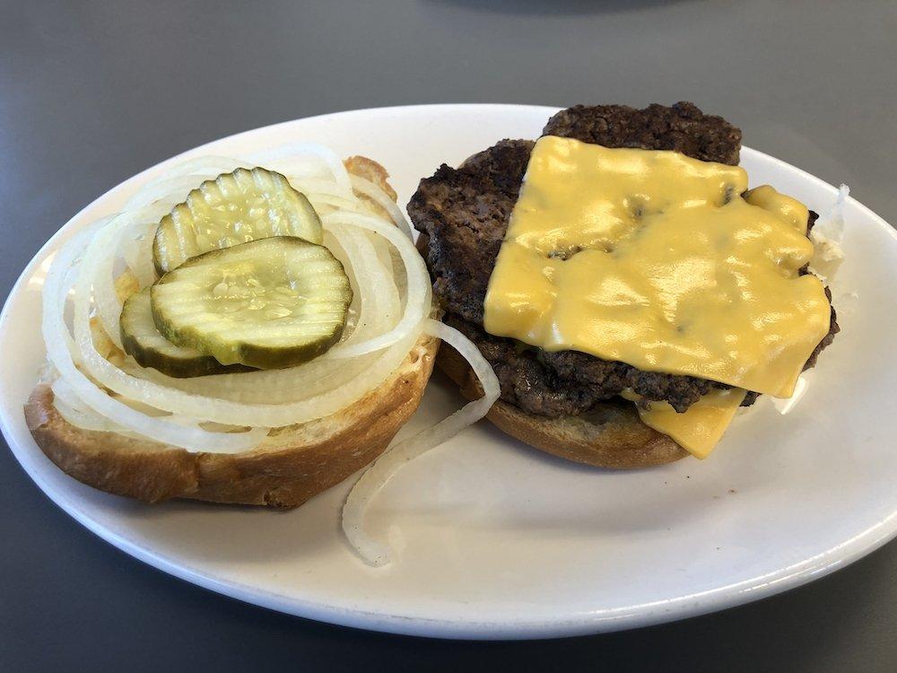 Open Face Double Cheeseburger