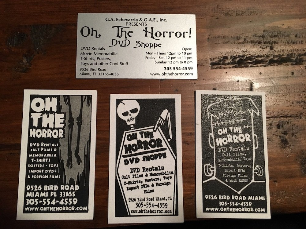 Oh, The Horror! DVD Shoppe Business Cards