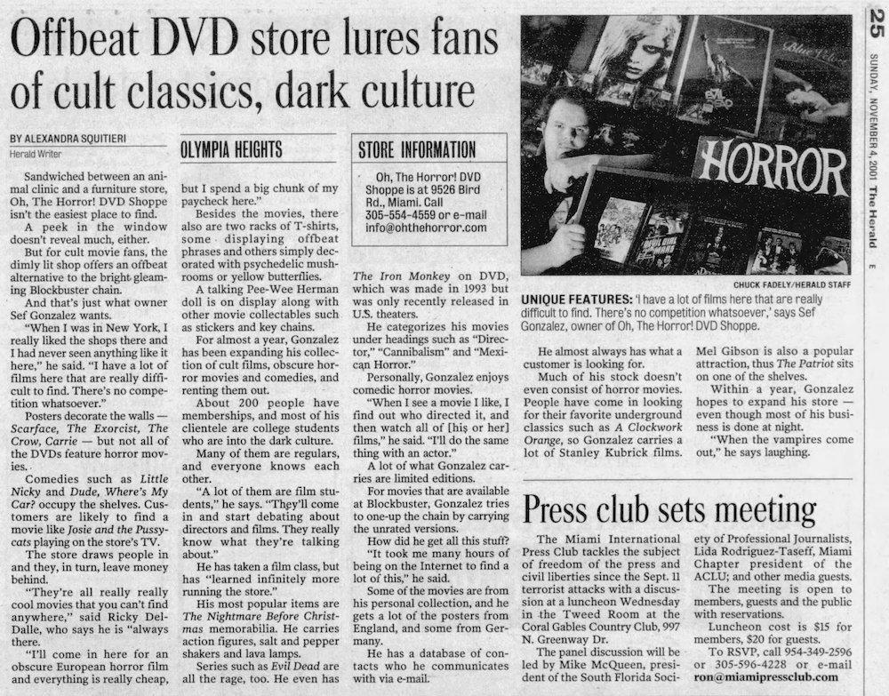 OTH in the Miami Herald 11-4-01