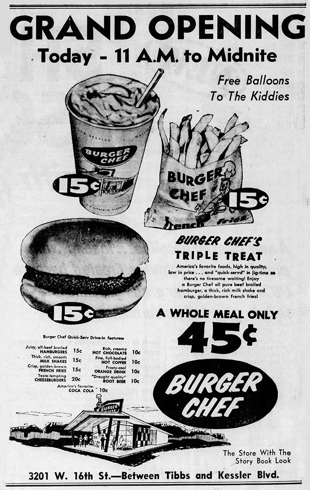 Grand Opening Ad in the Indianapolis Star 8-28-58