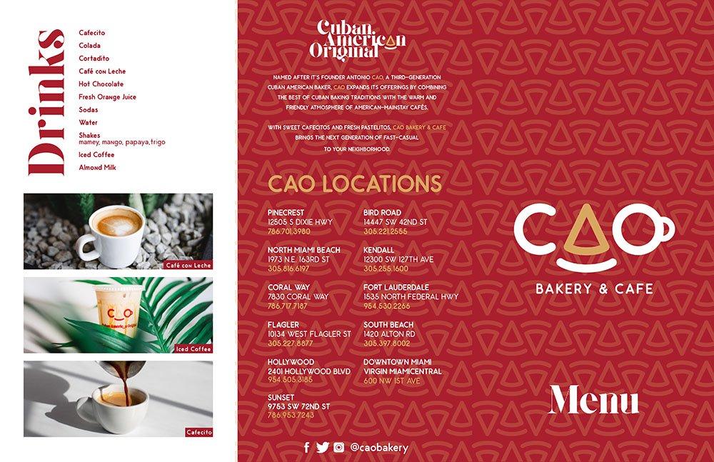 CAO Bakery Drinks & Locations Menu