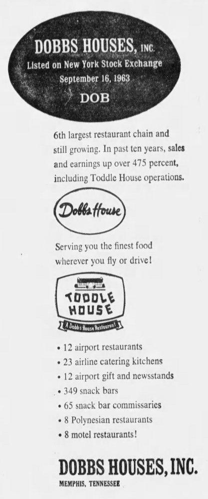Dobbs Houses ad - September 16th, 1963