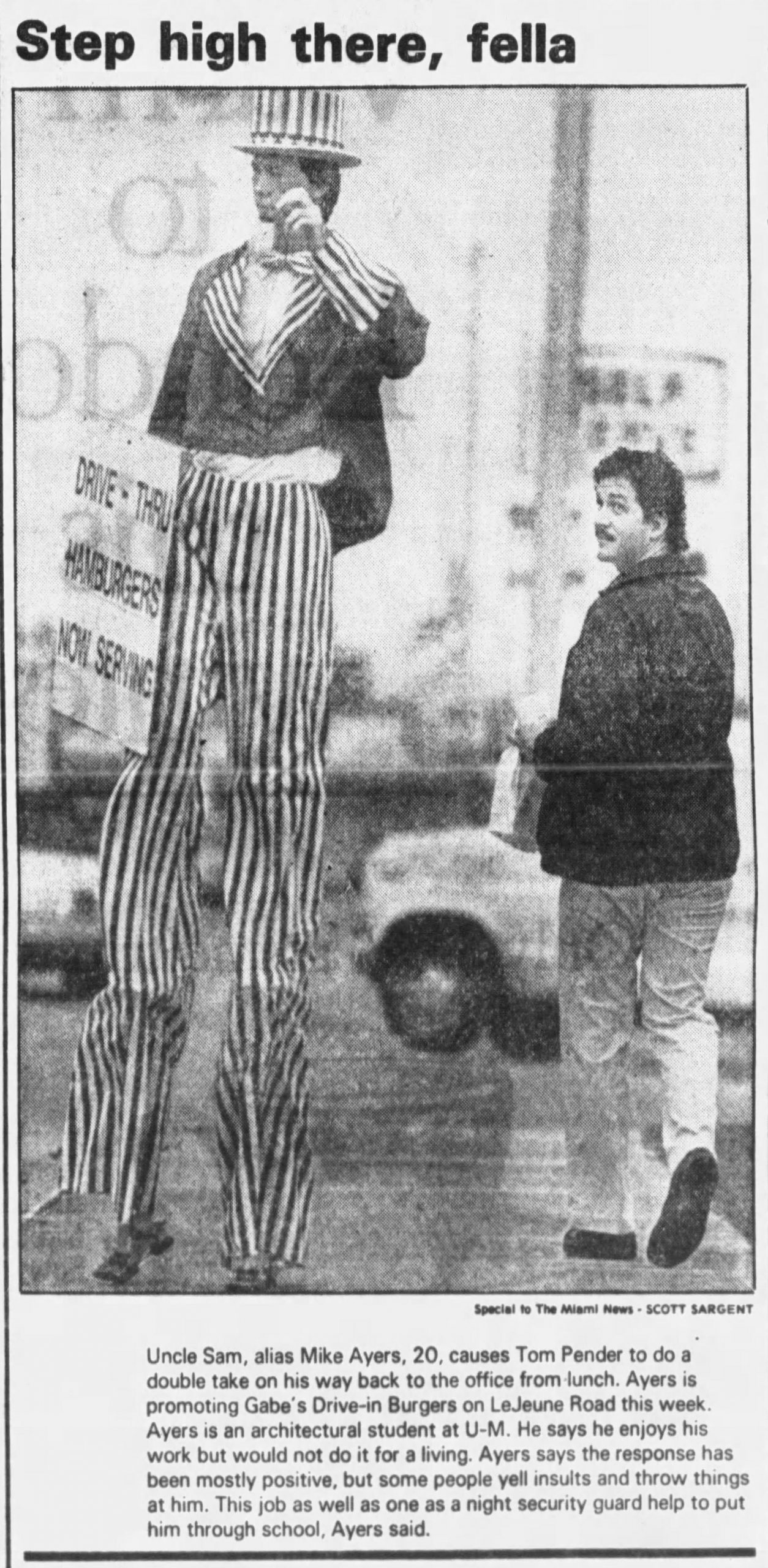 GABE's in The Miami News January 10, 1986