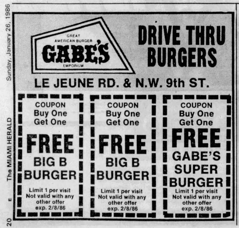 Coupon from the Miami Herald January 26, 1986