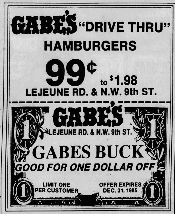 Coupon from the Miami Herald December 12th, 1985