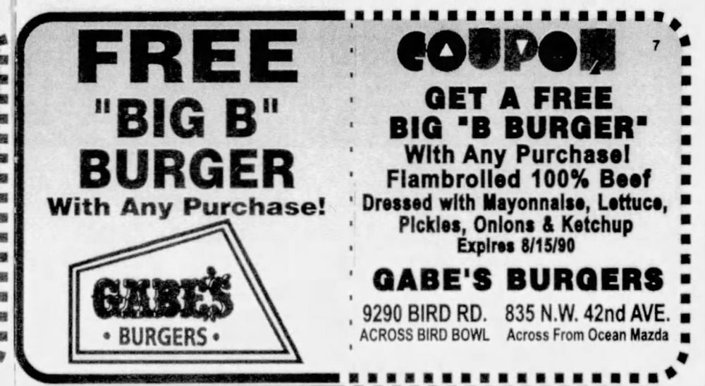 Coupon from the Miami Herald July 18th, 1990
