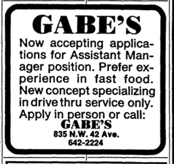 GABE's ad in the Miami Herald August 24, 1986