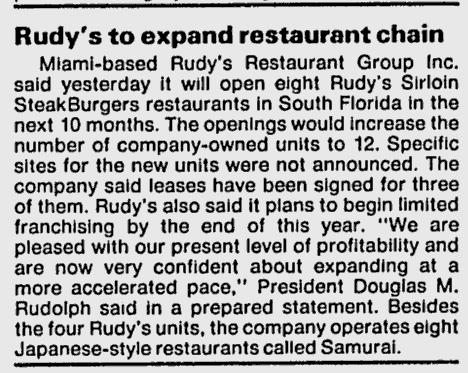 Rudy's in the Miami News 6-25-87
