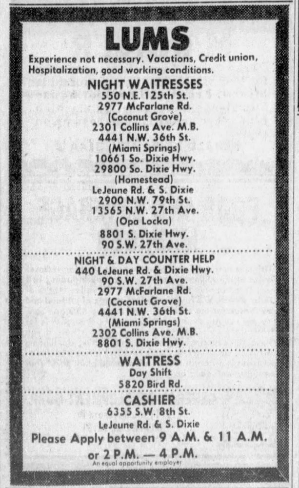 LUMS Employment ad in the Miami Herald March 6th, 1972